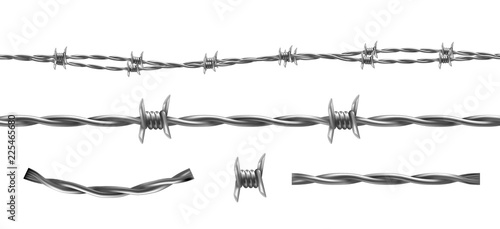 Fotografía Barbed wire vector illustration, horizontal seamless pattern and separate elements of barbwire isolated on background