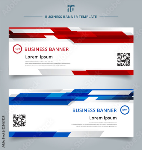 Fototapeta Set of abstract template technology web banner geometric red and blue color shiny motion background. obraz