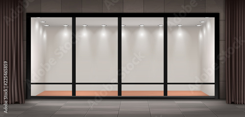 Fototapeta Vector illustration of storefront, glass illuminated showcase for presentations and museum exhibitions