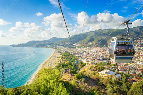 Printed kitchen splashbacks Turkey Alanya Cityscape with a cable car, Turkey
