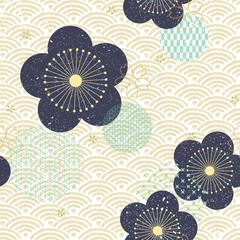 Naklejka Japoński Japanese flower pattern vector. Blue floral icon and wave pattern background.