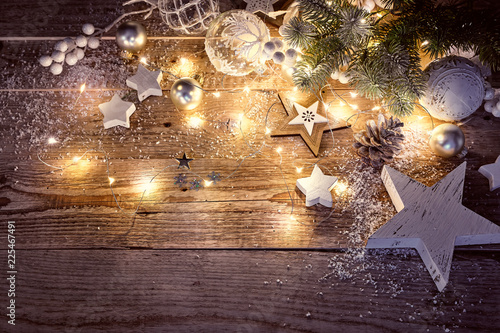 Fototapeta Christmas decoration in vintage style at old wooden board obraz