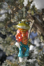Weihnachts Froschkönig Hängend Vom Weihnachtsbaum Im Garten, Dekoration Im Schnee