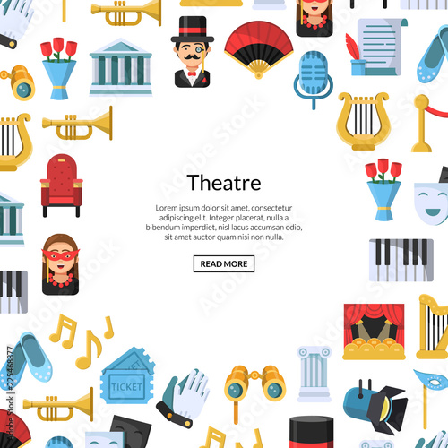 Photo  Vector flat theatre icons background with place for text illustration
