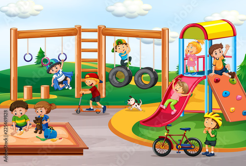 Fotobehang Kids Children playing at playground