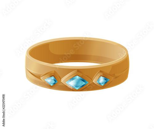 Cuadros en Lienzo Bracelet with Blue Gemstones Vector Illustration