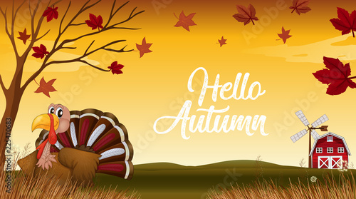 Poster Kids Hello autumn thanks giving card