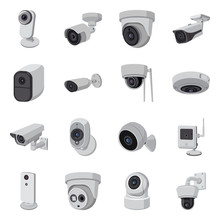 Vector Design Of Cctv And Camera Icon. Set Of Cctv And System Stock Symbol For Web.