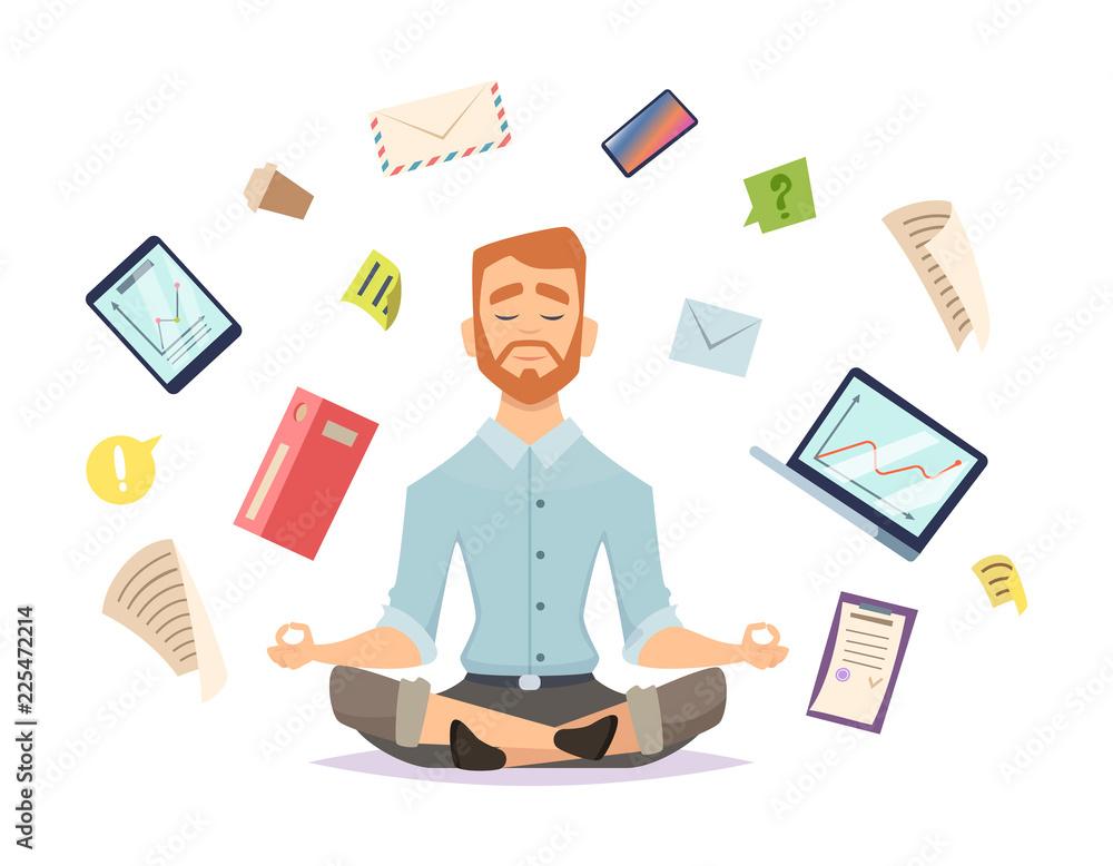 Fototapeta Business yoga concept. Office zen relax concentration at workspace table yoga practice vector illustration. Business concentration yoga, meditation zen pose