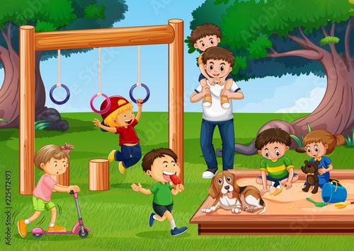 Staande foto Kids People at the playground