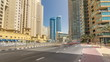 A view of traffic on the street at Jumeirah Beach Residence and Dubai marina timelapse hyperlapse, United Arab Emirates.