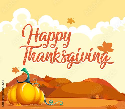 Staande foto Kids Happy thanksgiving pumpkin card