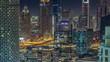 Dubai downtown night aerial timelapse