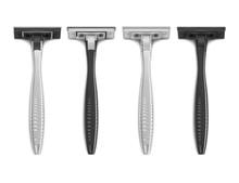 Vector. Mock Up. Set Black And White Shaving Machine