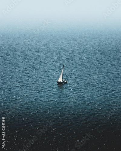 lonely yacht in the black sea © Николай Воробьев