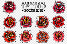 Old School Tattoo Red Roses Set