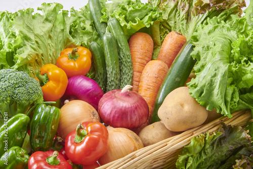 Fotobehang Groenten 新鮮で美味しい生野菜の集合
