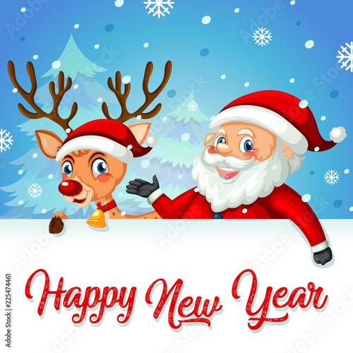 Staande foto Kids Santa and deer on new year card template