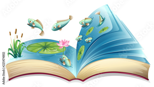 Staande foto Kids Fish in the pond open book