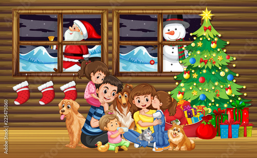 Fotobehang Kids Family Christmas in living room with tree