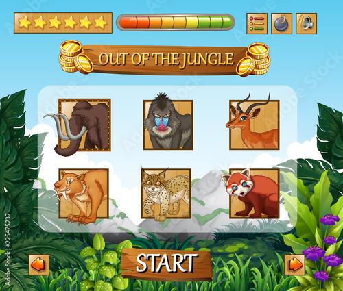 Fotobehang Kids Wild animals jungle game template