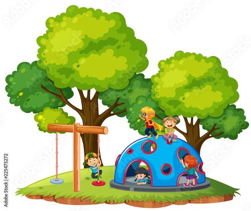 Fotobehang Kids CHildren playing at the park
