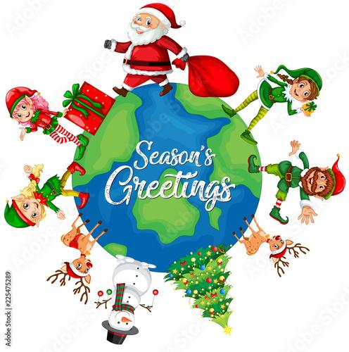 Staande foto Kids Christmas element on the globe