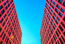 Facade Of  Skyscrapers With Beautiful Red Illumination Against The Background Of Blue Sky At Night, Dnepr City, Dnepropetrovsk, Dnipro City, Dnipropetrovsk, Ukraine
