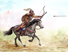 Mounted Knight. Magyar (hungarian) Mounted Archer At The Battle Of Lechfeld, 955. Medieval History.