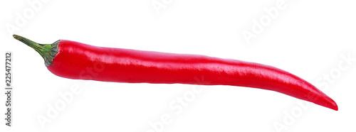 Świeży gorący czerwony chili pieprz odizolowywający na białym tle z ścinek ścieżką