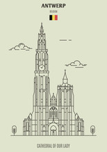 Cathedral Of Our Lady In Antwerp, Belgium. Landmark Icon