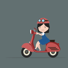 Little Girl Riding  Red Motorc...