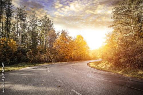 Cadres-photo bureau Automne Autumn road background and free space for your decoration.