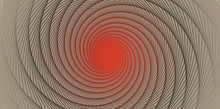 Ivory Graphic Vortex With Shimmering Open Center In Red