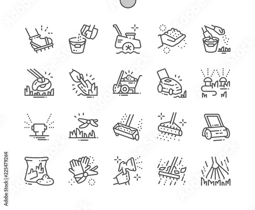 Fényképezés  Lawn care Well-crafted Pixel Perfect Vector Thin Line Icons 30 2x Grid for Web Graphics and Apps