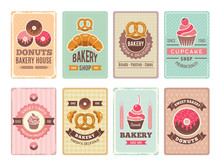 Bakery Cards Design. Fresh Sweet Foods Cupcakes Donuts And Other Baking Products Illustrations For Vintage Vector Menu In Retro Style. Menu Card Baking Shop And Pastry Bakery, Donut And Cupcake
