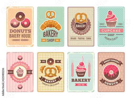 Bakery cards design Wallpaper Mural