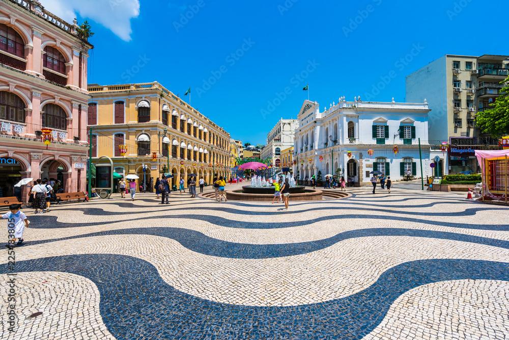 Fototapety, obrazy: China, Macau - September 6 2018 - Beautiful old architecture building around senado square in macau city