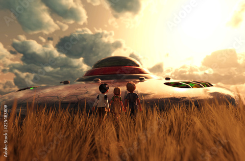 Children's looking to a UFO saucer,3d illustration Wallpaper Mural