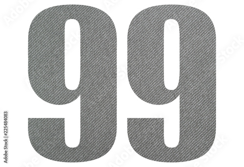 Photographie  99, ninety nine - with gray fabric texture on white background