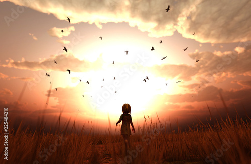 Fototapety, obrazy: 3d illustration of a girl walking alone in grass field