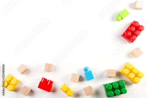 Fototapeta Kids toys background with colorful blocks
