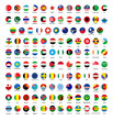 All official national flags of the world . circular design .
