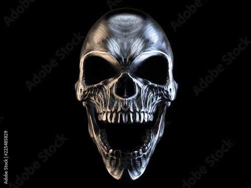 Fotografie, Obraz Screaming silver demon skull