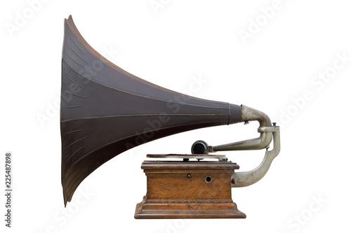 Obraz gramophone disque musique objet vieux ancien collection profil corne son ancêtre musée - fototapety do salonu