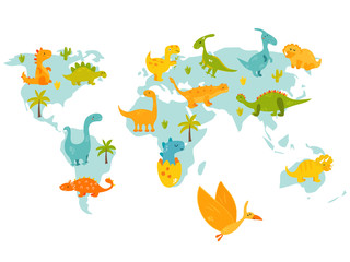World map with cute cartoon dinos. Bright vector illustration