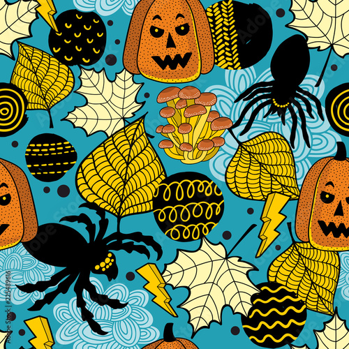Seamless pattern with halloween pumpkins and black spiders.