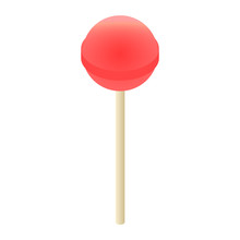 Red Lollipop Icon. Isometric O...
