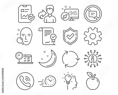 Set of Online test, Approved agreement and Service icons
