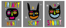 Funny Hand Drawn Abstract Halloween Vector Illustrations. Freaky Night And Black Funy Skull. Be Scary With Freaky Bunny. So Spooky And Creepy Smiling Black Cat. Dark Grey Grunge Background.
